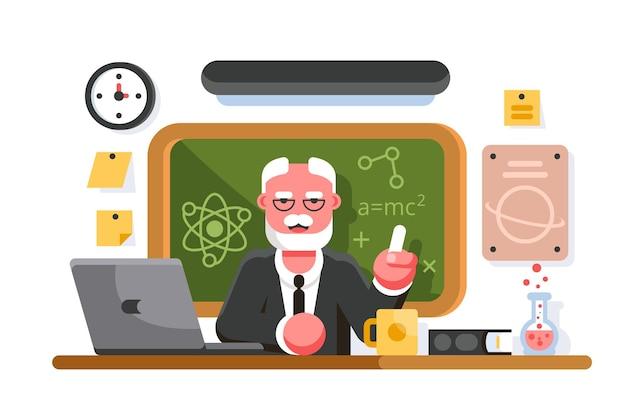 Scheikundeleraar in de klas. professor in de klas. onderwijs concept
