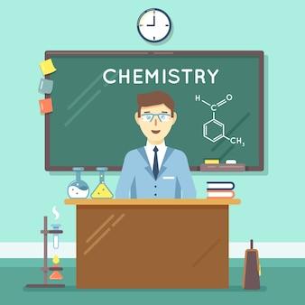 Scheikundeleraar in de klas. schoolwetenschappelijke studie, universitair manonderzoek. vector illustratie platte onderwijs achtergrond