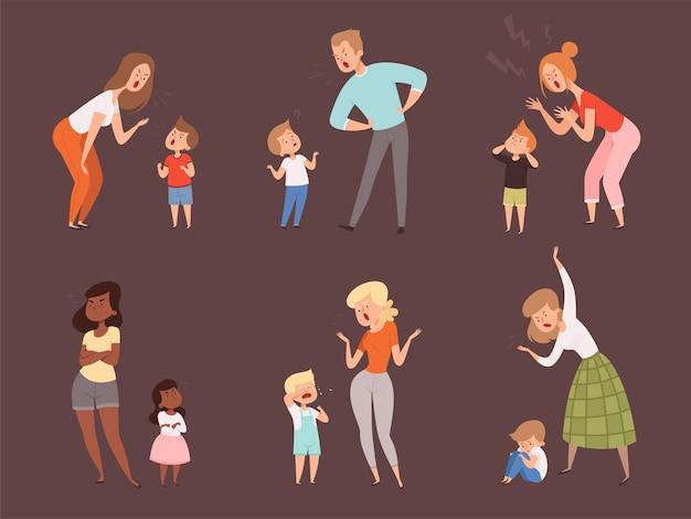 Scheld kinderen uit. kinderen huilen ouders vader en moeder trieste uitdrukking reactie stripfiguren.