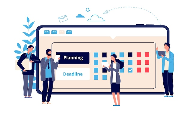 Schema concept. zakelijk ondernemerschap, online werkplanning. platte ondernemers plannen hun werk. vector zakelijke karakters en online kalender. illustratie werkplanner, agendakalender