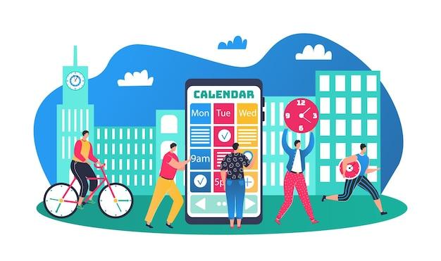 Schema voor zakenmensen, kalender en tijdmanagementconcept