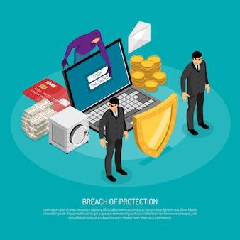 Schending van bescherming isometrische sjabloon met fraude hacking computer 3d