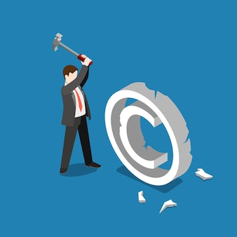 Schending van inbreuk op het auteursrecht vallen mislukken rem plat isometrisch Gratis Vector