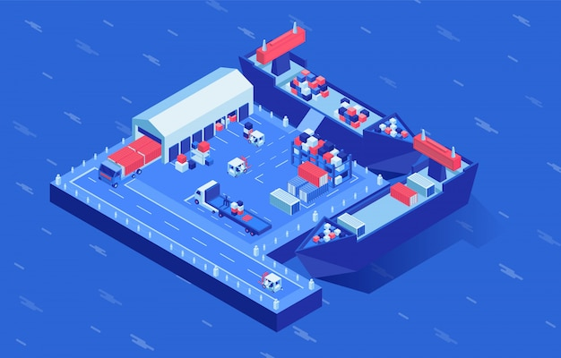 Schepen bij scheepswerf isometrische vectorillustratie. industrieel zeetransport in logistieke hub omringd door water. zending distributiedienst, merchandise verzending, zeevracht bedrijf