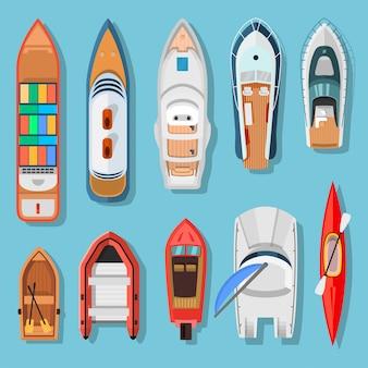 Schepen en boten bovenaanzicht