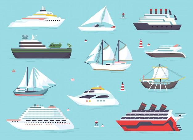 Schepen op zee, scheepvaartboten, oceaan transport pictogrammen instellen