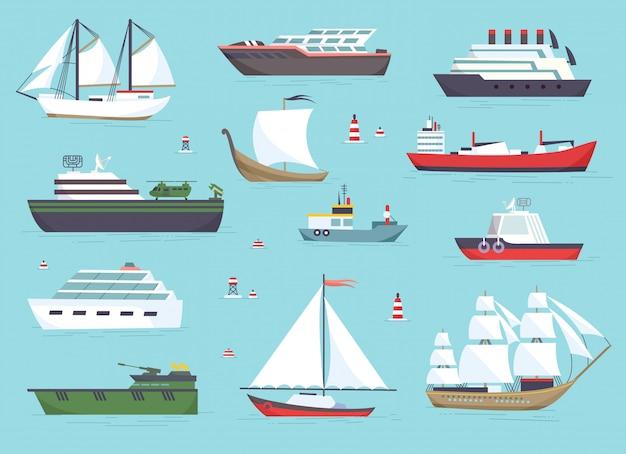 Schepen op zee, scheepvaartboten, oceaan transport vector pictogrammen instellen