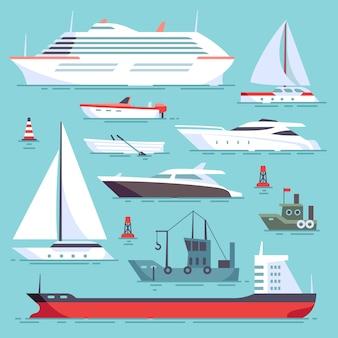 Schepen op zee, scheepvaartboten, oceaan vervoer pictogrammen instellen. oceaanschipinzameling, illustratie