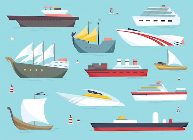 Schepen op zee, scheepvaartboten, zeetransport