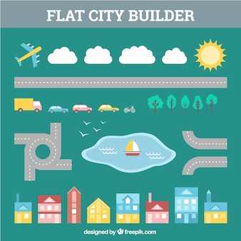 Schepper van steden stijl flat Gratis Vector
