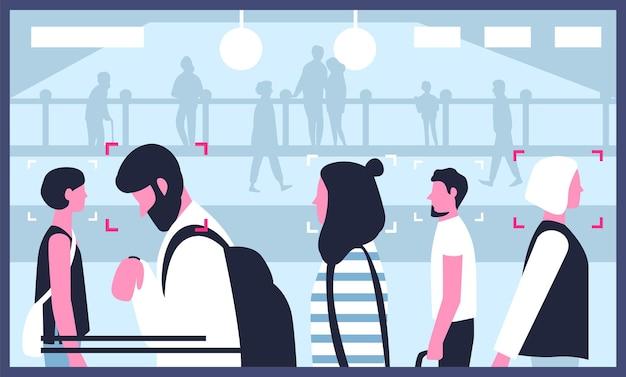Scherm met video van cctv-camera's die op een openbare locatie zijn geïnstalleerd. moderne bewakingstechnologie die wordt gebruikt voor monitoring, gezichtsherkenning, openbare veiligheid. platte cartoon kleurrijke vectorillustratie.