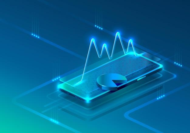 Scherm telefoon neon icoon financieel modern. blauwe achtergrond.