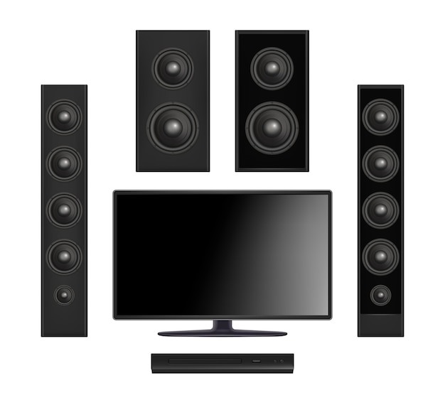 Scherm tv. plasma multimedia videosysteem met console en geluidsspreker digitale monitor realistisch