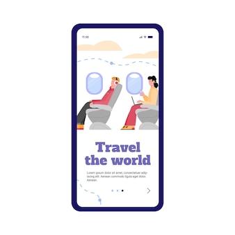 Scherm van mobiele telefoon met app voor vliegtuigpassagiers a