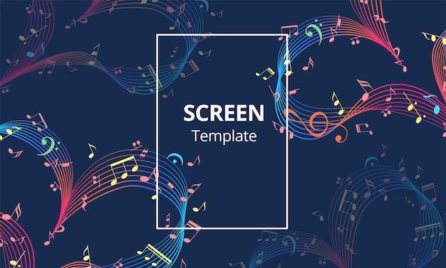 Schermbeveiligingsontwerp of webbanner met muziekhart valentijnsdag ontwerpelement vector