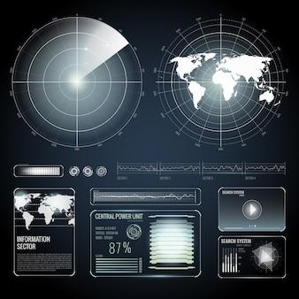 Schermelementen van zoekradarset Gratis Vector