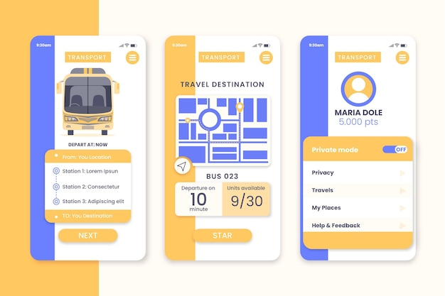 Schermen van de ov-app
