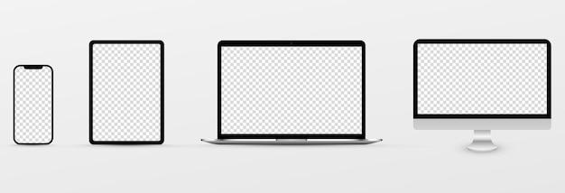Schermmodel. mockup van telefoon, laptop, smartphone, monitor met leeg scherm. png.