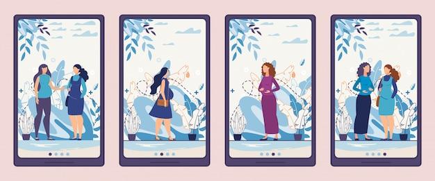 Schermpagina's voor mobiele telefoons met zwangere vrouwen