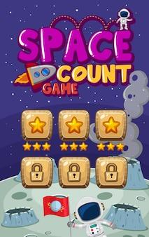 Schermsjabloon voor computerspel met astronauten in de ruimte