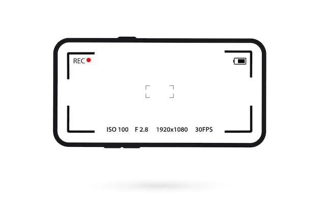 Schermsjabloon voor mobiele camera-app. smartphone met camera-app-interface. camera telefoon interface. fotozoekerscherm.