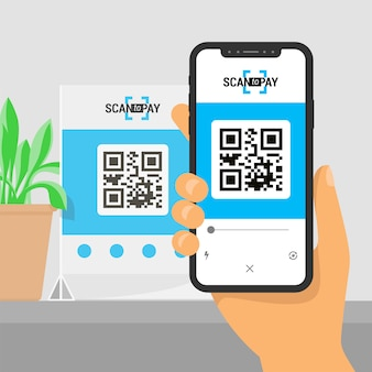 Schermsmartphone met app in de hand. qr-code op tafel scannen en online betalen, geld overmaken.