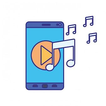 Schermsmartphone met speelmuziek geïsoleerd pictogram