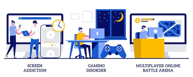 Schermverslaving, game-stoornis, multiplayer online battle arena-concept met kleine mensen. digitale overbelasting vector illustratie set. geestelijke gezondheid, gamingplatform, realtime strategiemetafoor.