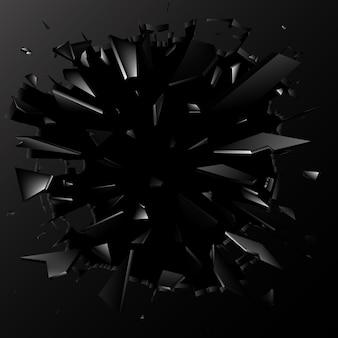 Scherven van gebroken glas. abstracte explosie. achtergrond
