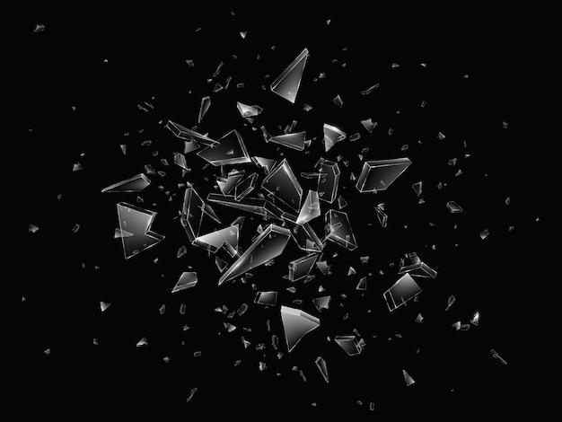 Scherven van gebroken glas. abstracte explosie. realistische achtergrond
