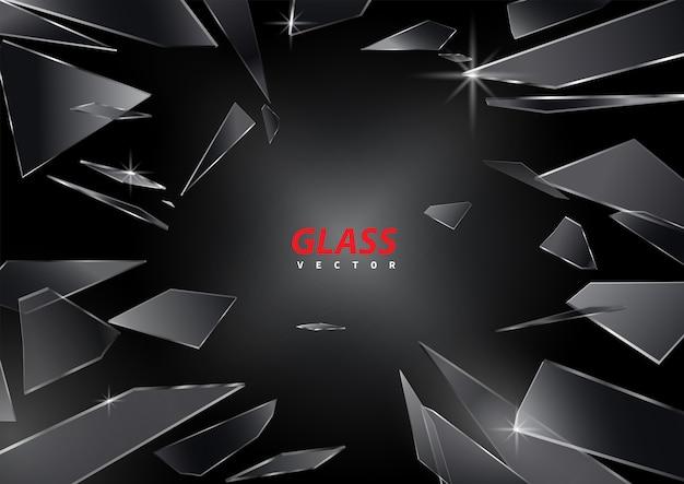 Scherven van gebroken glas op zwarte achtergrond