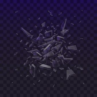 Scherven van gebroken glas. verbrijzelde glasstukken die op zwarte achtergrond worden geïsoleerd. abstracte explosie.