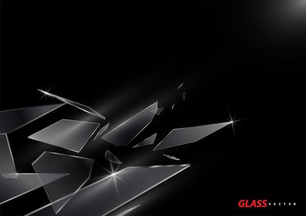 Scherven van gebroken glasvector op zwarte achtergrond