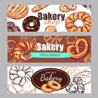 Schets bakkerij banner set