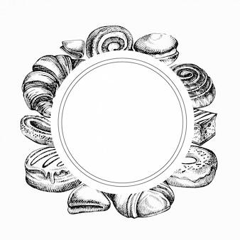 Schets bakkerijproducten frame. verschillende soorten broodjes, bakkerijbrood gegraveerde illustratie