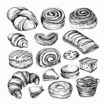 Schets bakkerijproducten. verschillende soorten broodjes, bakkerijbrood gegraveerde illustratie