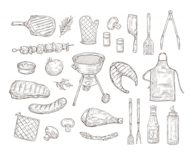 Schets bbq. barbecue doodle tekening grill kip saus barbecue gegrilde groenten gebakken steak vlees geroosterde worstjes vintage
