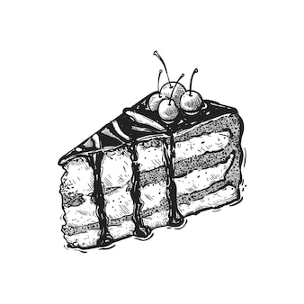 Schets brownies, hand getrokken fruit en bessen bakken illustratie. zoete bakkerij