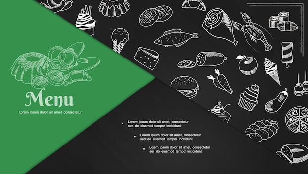 Schets café menu-elementen samenstelling dia met zeevruchten sushi rolt desserts bakkerijproducten pizza appel wortelen hamburger ijs