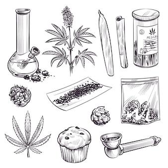 Schets cannabis. cosmetische en medische plant marihuana bladeren, wiet joint en waterpijp. cbd olie, vintage gravure handgetekende ganja gegraveerde set
