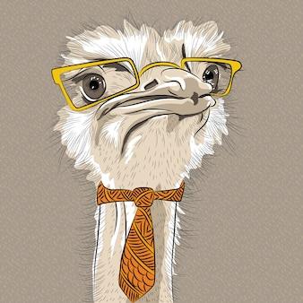 Schets close-up portret van grappige struisvogel vogel hipster in gele bril en stropdas