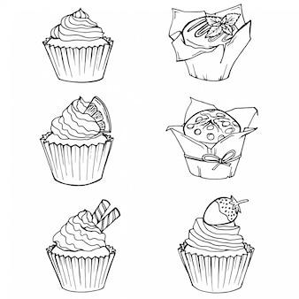 Schets cupcakes en muffins.