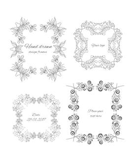 Schets decoratieve bloemdessin frames set