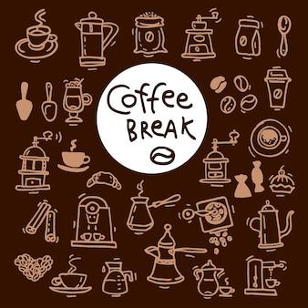 Schets doodle koffie pictogramserie. hand getekende vectorillustraties. menu-ontwerpelementen