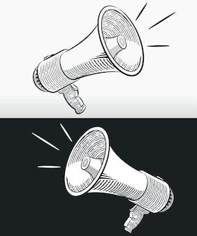 Schets doodle megafoon hoorn luidspreker overzicht