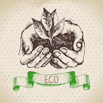 Schets ecologie vintage achtergrond. hand getekende vectorillustratie