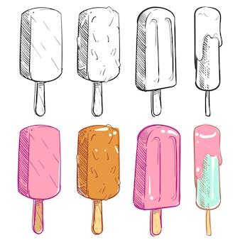Schets en kleurige ijscollectie