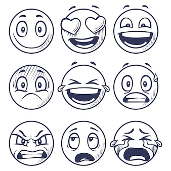 Schets glimlacht. doodle smiley in verschillende emoties.