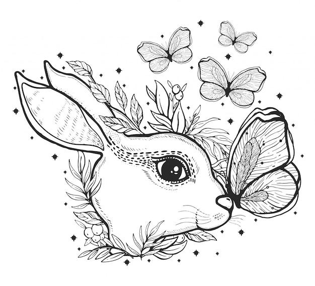 Schets grafische illustratie konijn en vlinder met mystieke en occulte hand getrokken symbolen.