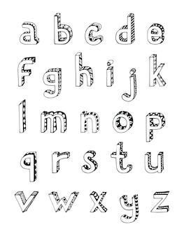 Schets hand getekend 3d alfabet van kleine kleine letters geïsoleerde vector illustratie